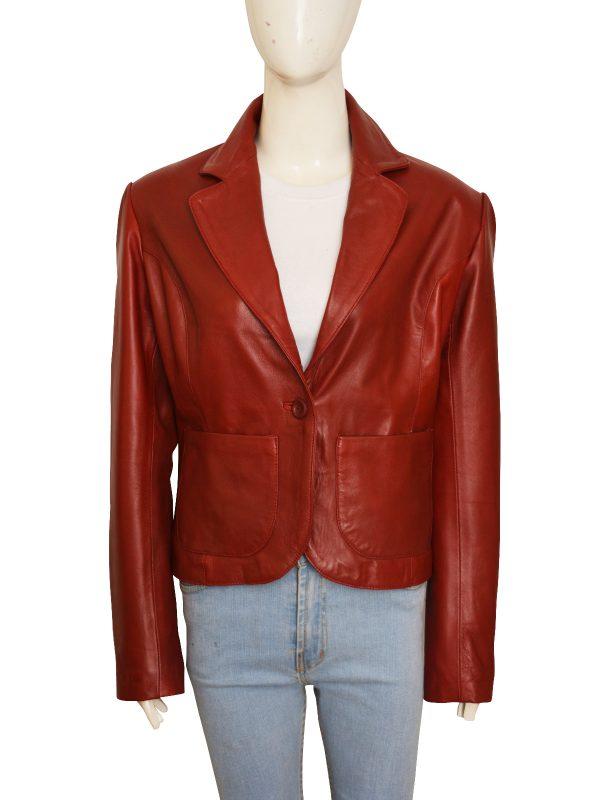 stylish maroon blazer for women, leather blazer for women
