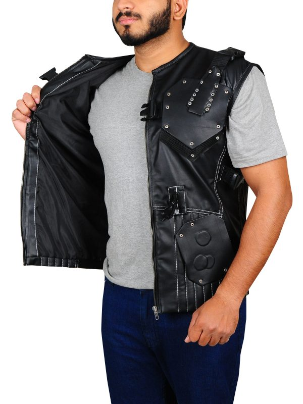 army black leather vest, movie leather vest