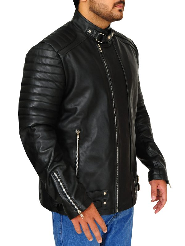 cool black leather jacket, dashing black leather jacket