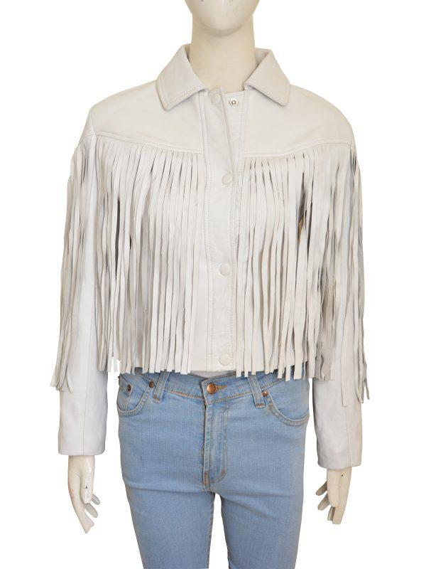 white cowgirl fringe jacket, trendy fringe white jacket