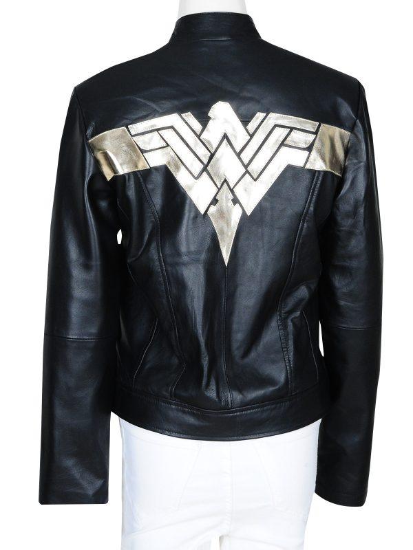 wonder women logo jacket, black leather jacket wonder women logo