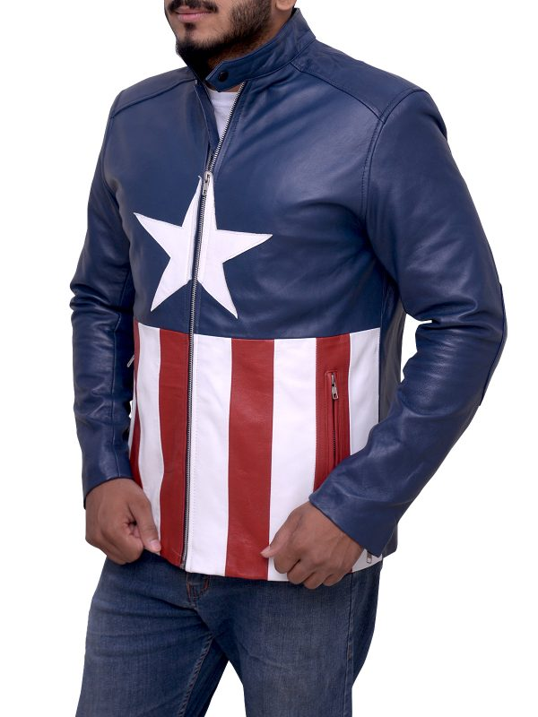 american flag leather jacket, american flag biker jacket