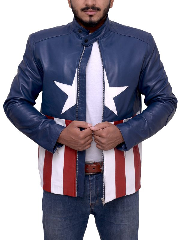 American Flag leather jacket for men, american flag leather jacket for bikers,