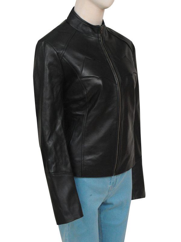 batman logo black leather jacket, batman logo women leather jacket