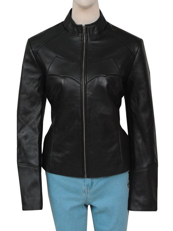 batman logo catwomen leather jacket, catwomen black leather jacket