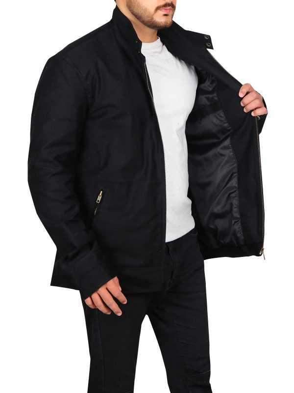 popular black cotton jacket, trendy black cotton jacket