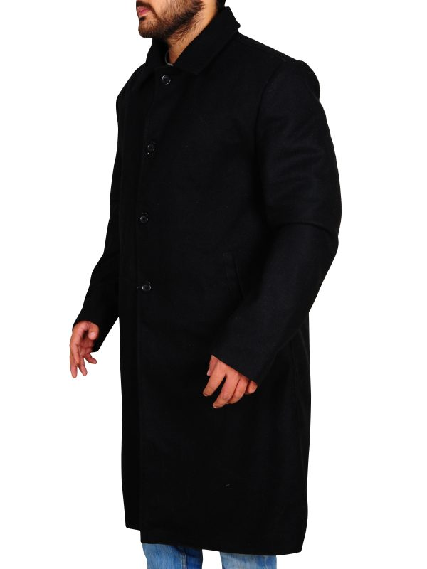black trench coat for men, men black trench coat