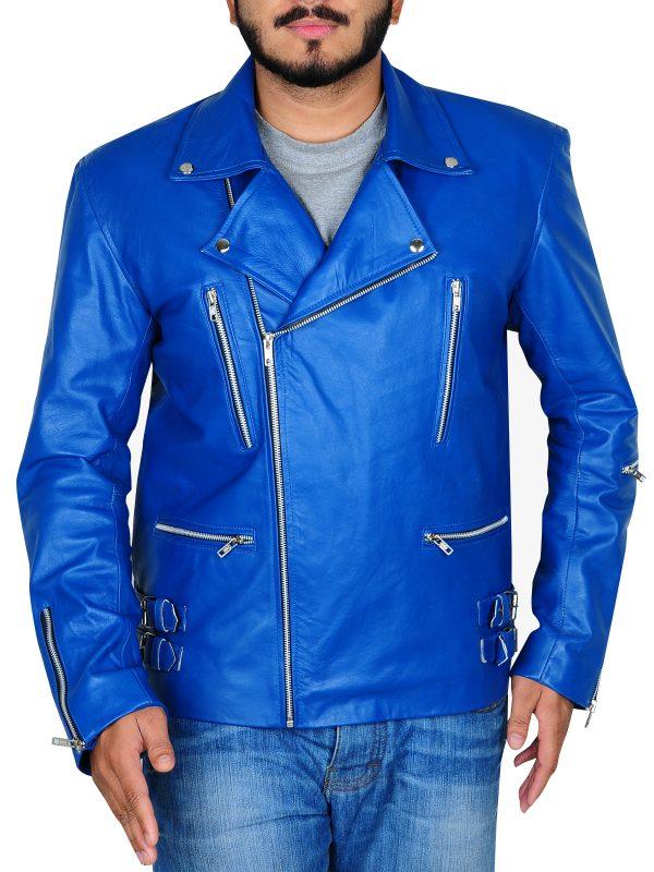 blue brando leather jacket, men brando leather jacket