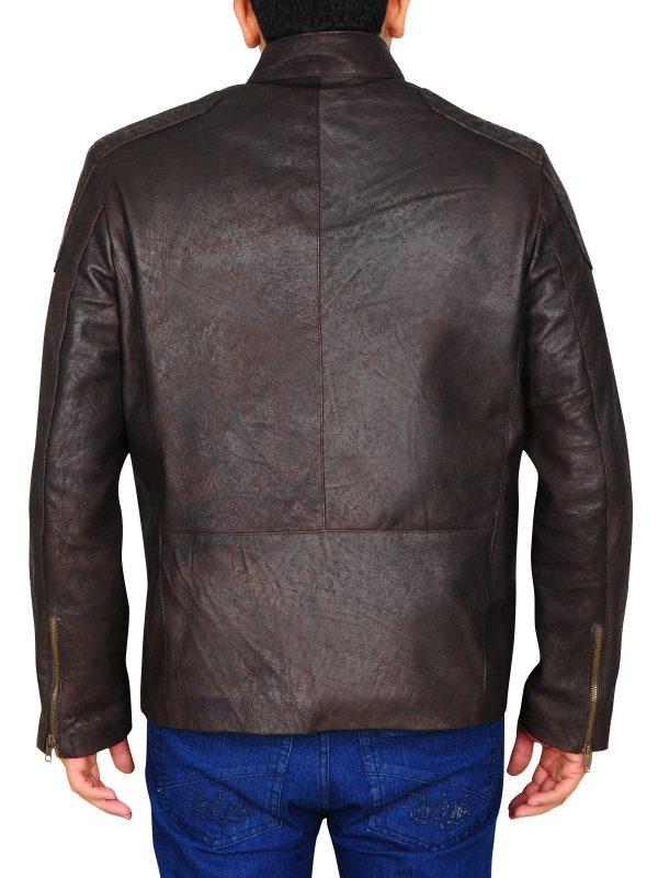 dark brown biker leather jacket, brown slim biker leather jacket