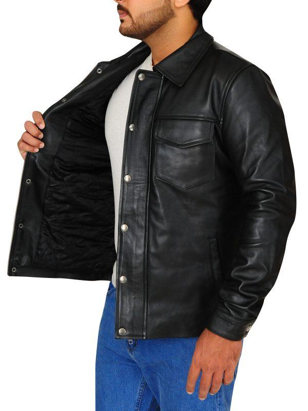 flab button leather jacket, celebrity leather jacket,