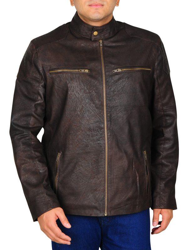 chris evans brown leather jacket, chris evan celebrity brown leather jacket