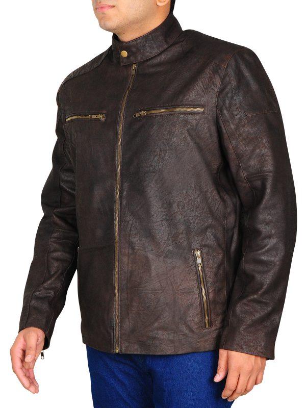 slim fit brown leather jacket, steve rogers brown leather jacket, civil war brown leather jacket
