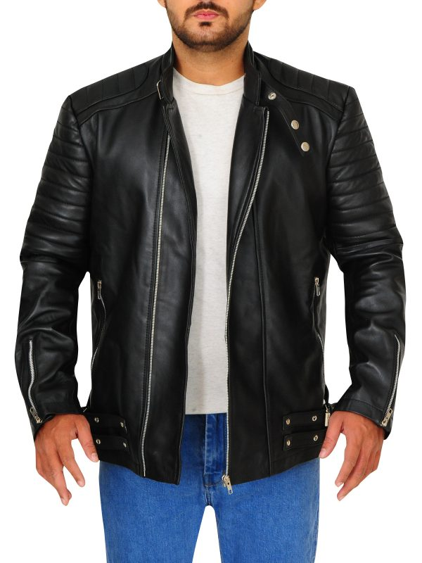 stylish black leather jacket for men, men black leather jacket