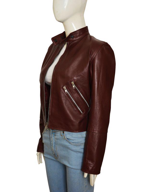 marron female leather jacket, teen girl maroon jacket,