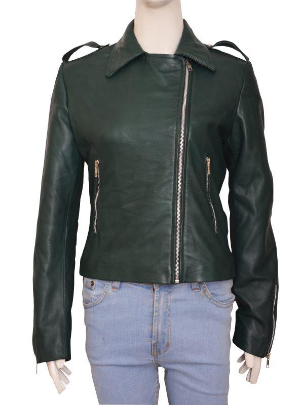 fashion 2018 green leather jacket, women leather jacket green,