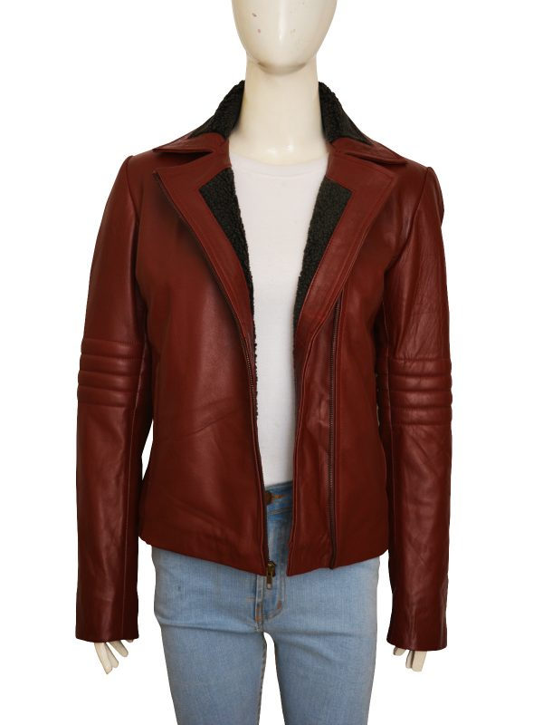 stylish maroon leather jacket for women, girl collection leather jacket, mauvetree