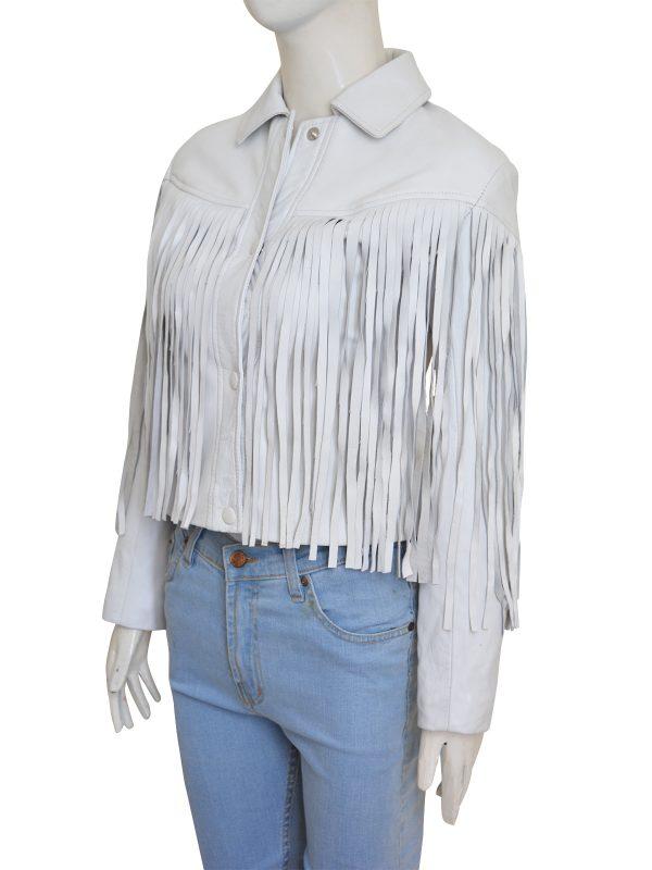 cowgirl fringe white leather jacket, fringe jacket for girls