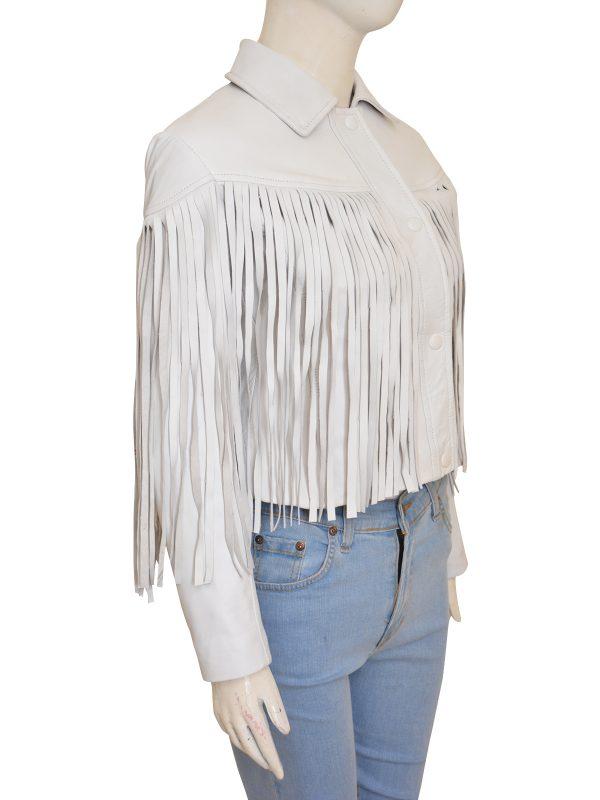 white fringe jacket for girls, white leather fringe jacket