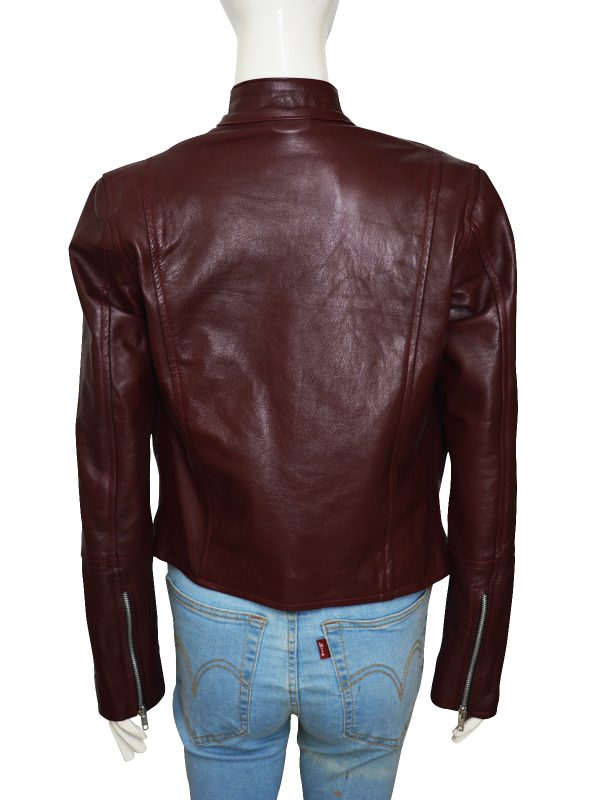 cool girl leather jacket, maroon lady leather jacket, trendy maroon leather jacket