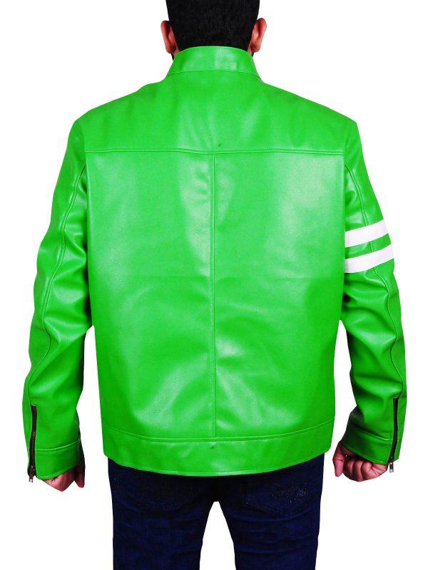 fashionable biker jacket, green leather jacket