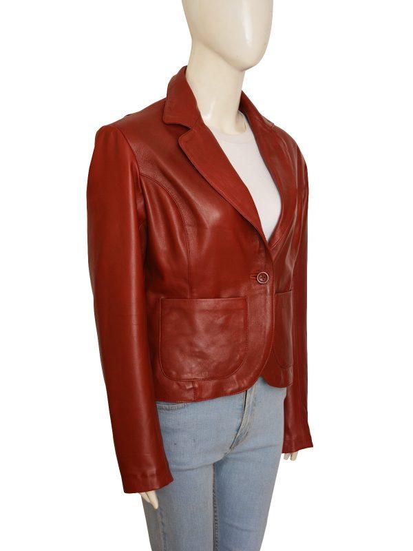 maroon leather jacket for women, trendy leather blazer for women