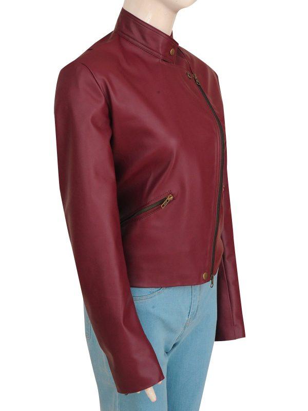 stylish maroon leather jacket, famous maroon leather jacket