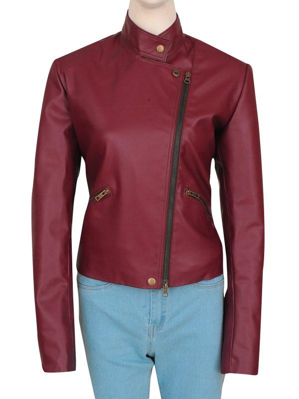 celebrity maroon leather jacket, movie star leather jacket