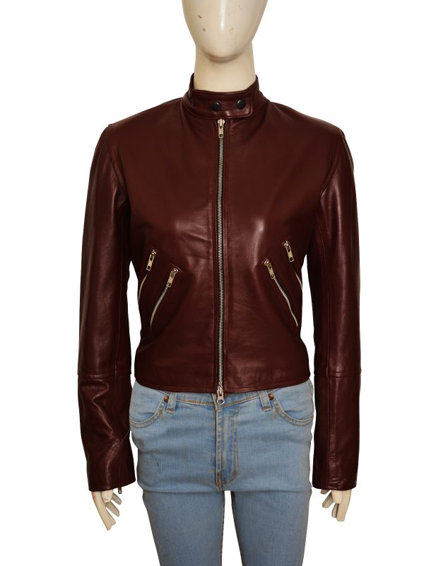 women maroon leather jacket, mauve tree