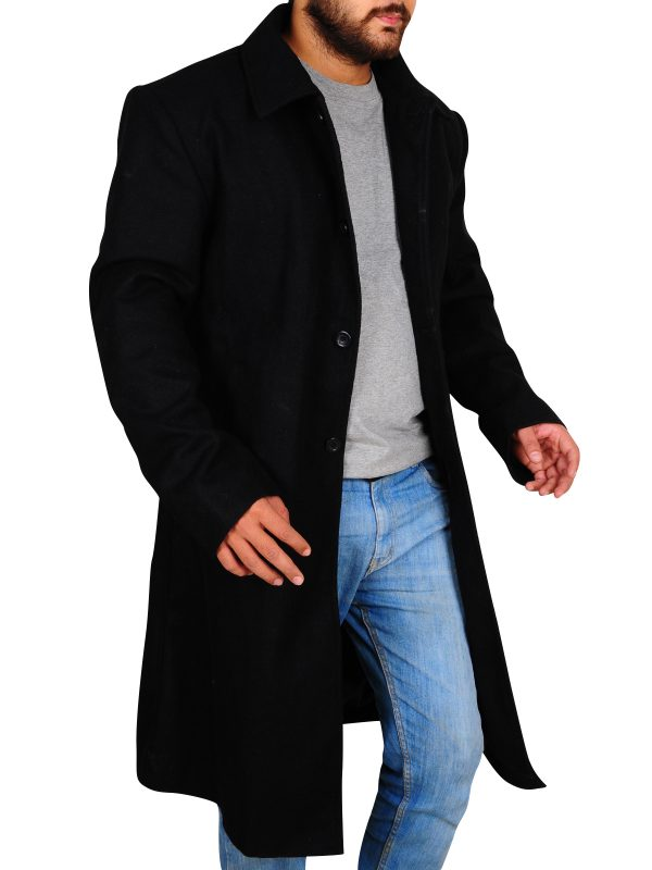 trench coat in black color, wool trench coat