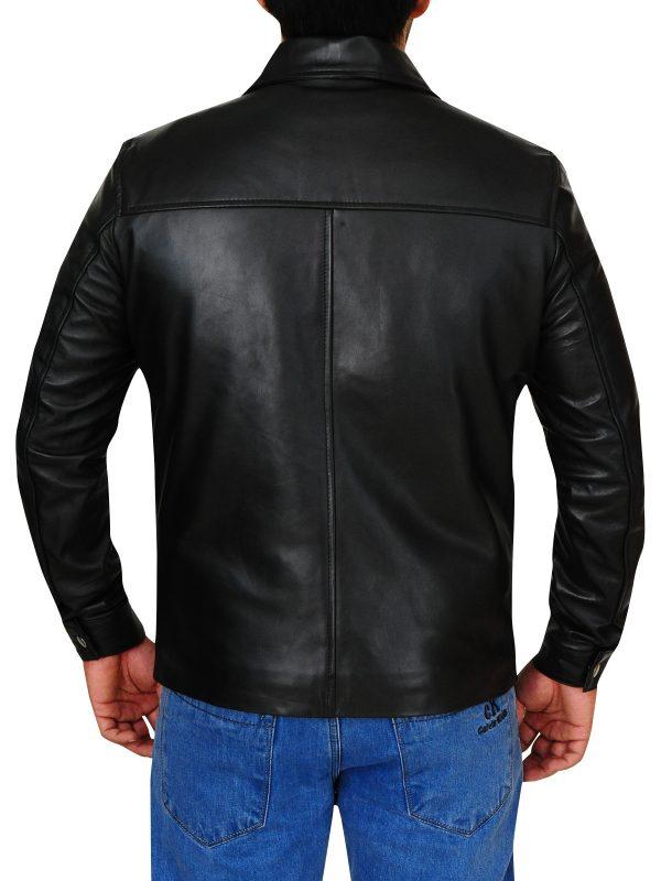 celebrity men leather jacket, black celebrity jacket,