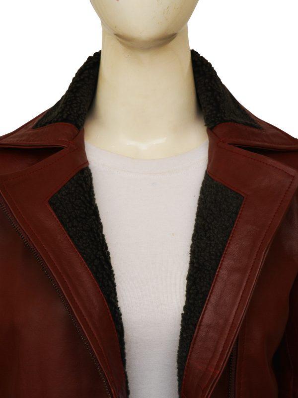fur collar maroon leather jacket for girls, women fur leather jacket