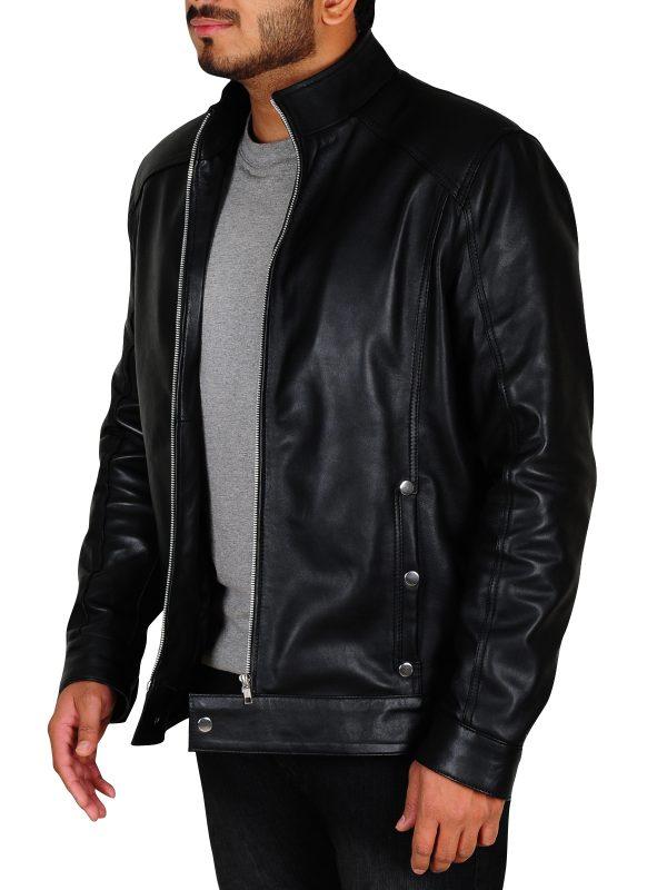black leather jacket for men, men black leather jacket