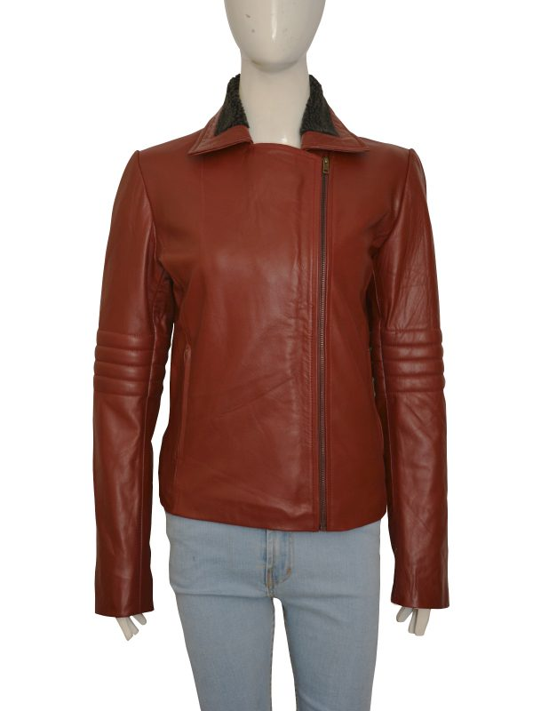 slim fit maroon leather jacket for girls, 2018 fashion leather jacket for women