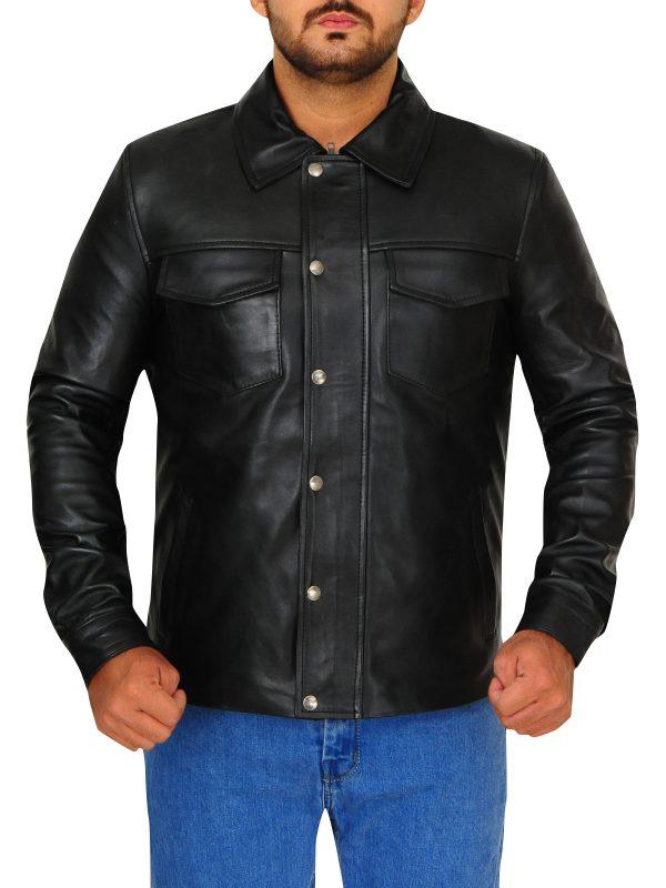 flap button leather jacket for men, men black leather jacket,