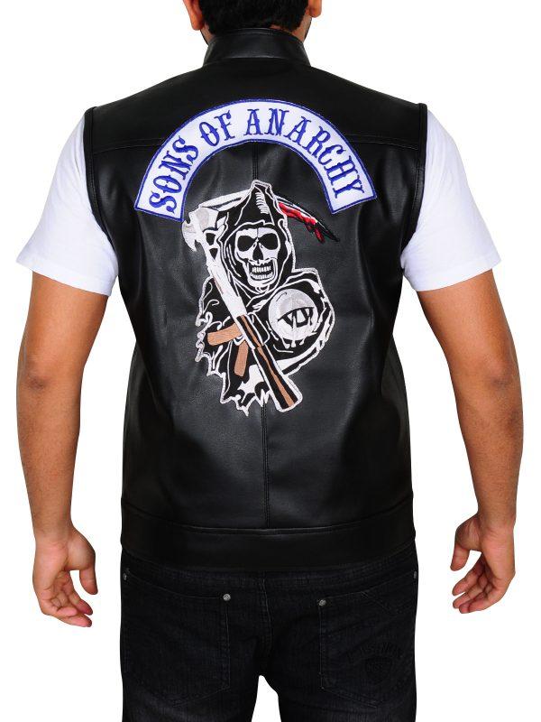 real sons of anarchy vest, biker black vest sons of arachy