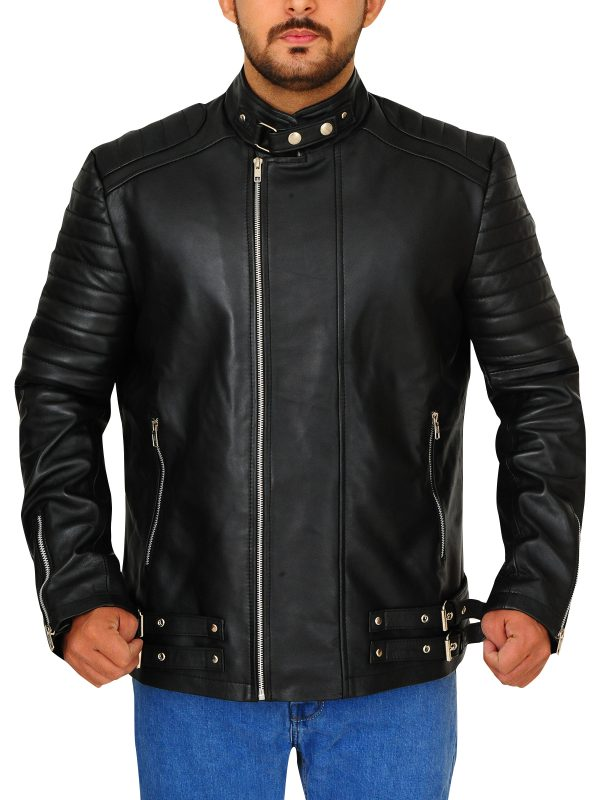 slim fit leather jacket for men, snap tab collar black jacket