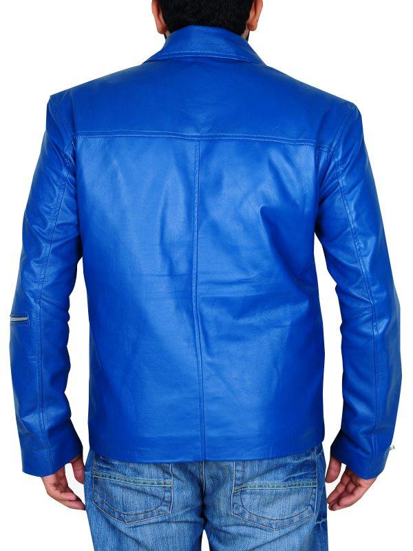 stylish brando leather jacket, blue brando jacket for men