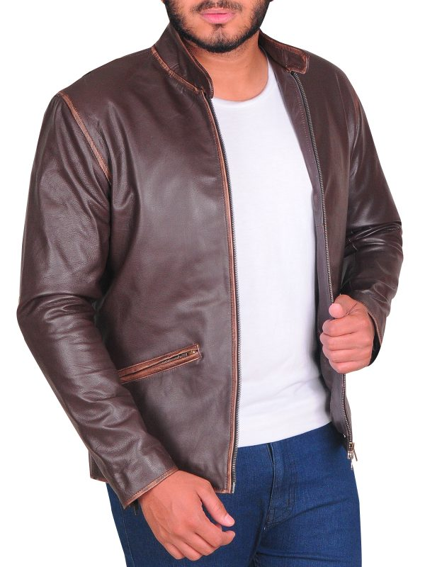 brown outfit leather jacket, men real leather jacket