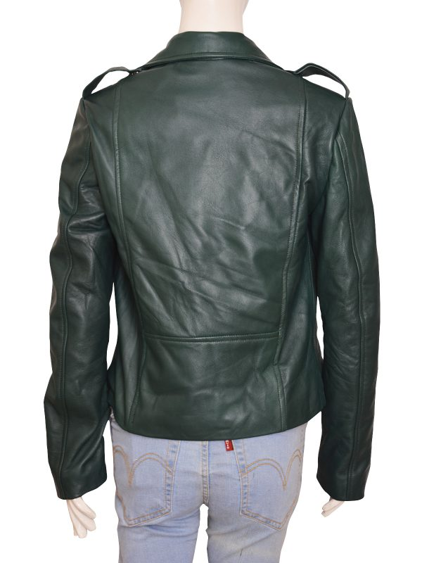 funky looking leather jacket, college girl jacket