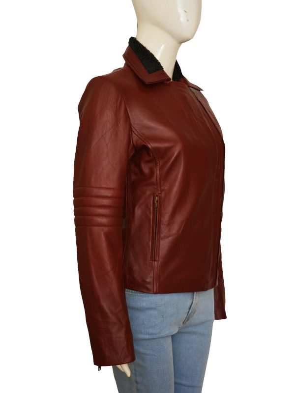 body fit maroon leather jacket, fashionable red leather jacket for women
