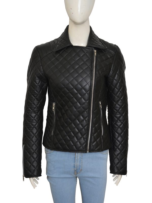 real leather puffer jacket for biker girls, trendy biker girl jacket,