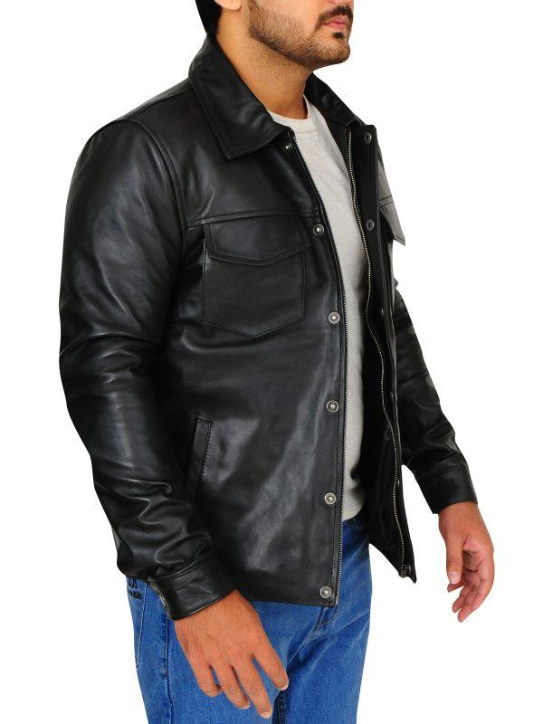 celebrity men leather jacket, black celebrity leather jacket,