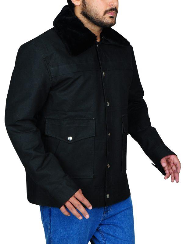 fur collar black jacket, fur collar cotton jacket