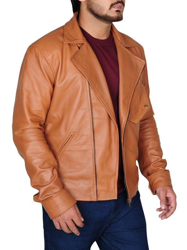 celebrity wear, winter collection 2018, classy tawny brown leather jacket