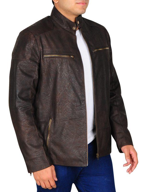 dark brown distressed leather jacket for men, men distressed brown leather jacket
