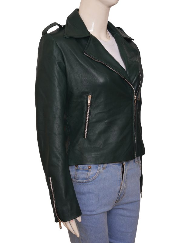 perfect leather jacket for her, women green jacket