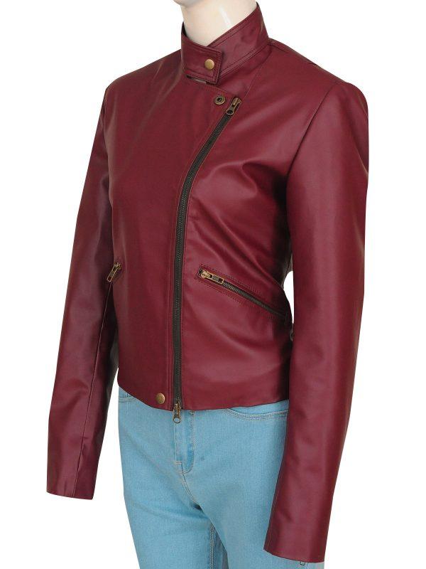 maroon women leather jacket, maroon leather jacket for teen girls