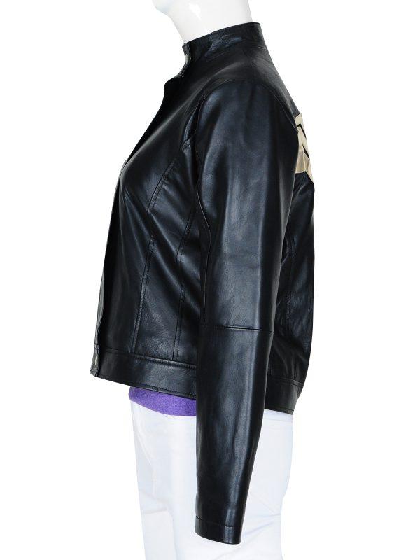 slim fit leather jacket for women, women black zipper jacket