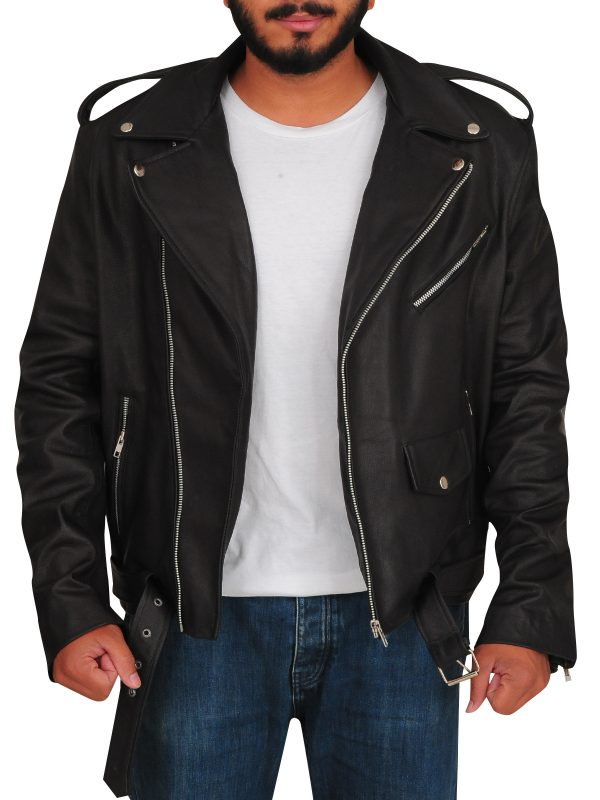 black biker leather jacket, trendy leather jacket,