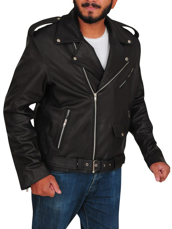 black biker leather jacket, men black biker jacket